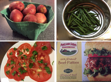 Potatoes, green beans, tomatoes and beef all from local farms.  Herbs courtesy of our own backyard.